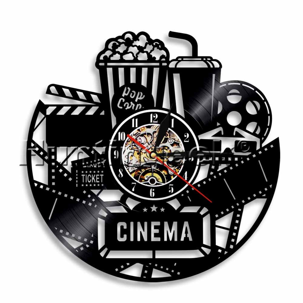 Home Theater Wall Sign Vinyl Record Wall Clock Movie Cinema Snack Bar Decor Movie Record Room Popcorn Machine Sign Clock Handmade Vintage Art Gift (Without LED)