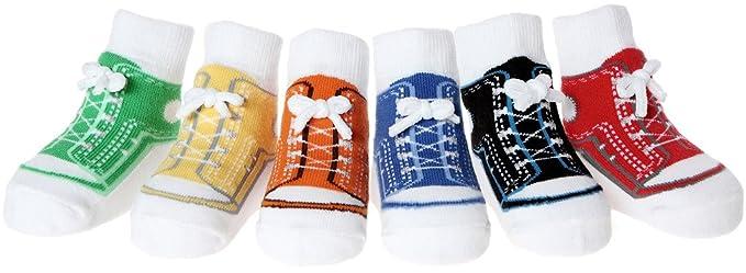Calzine neonato con look scarpa - antiscivolo - in sacchettino regalo - 6 paia - in morbido cotone - 0-12 mesi (SNEAKERS L6A70MI