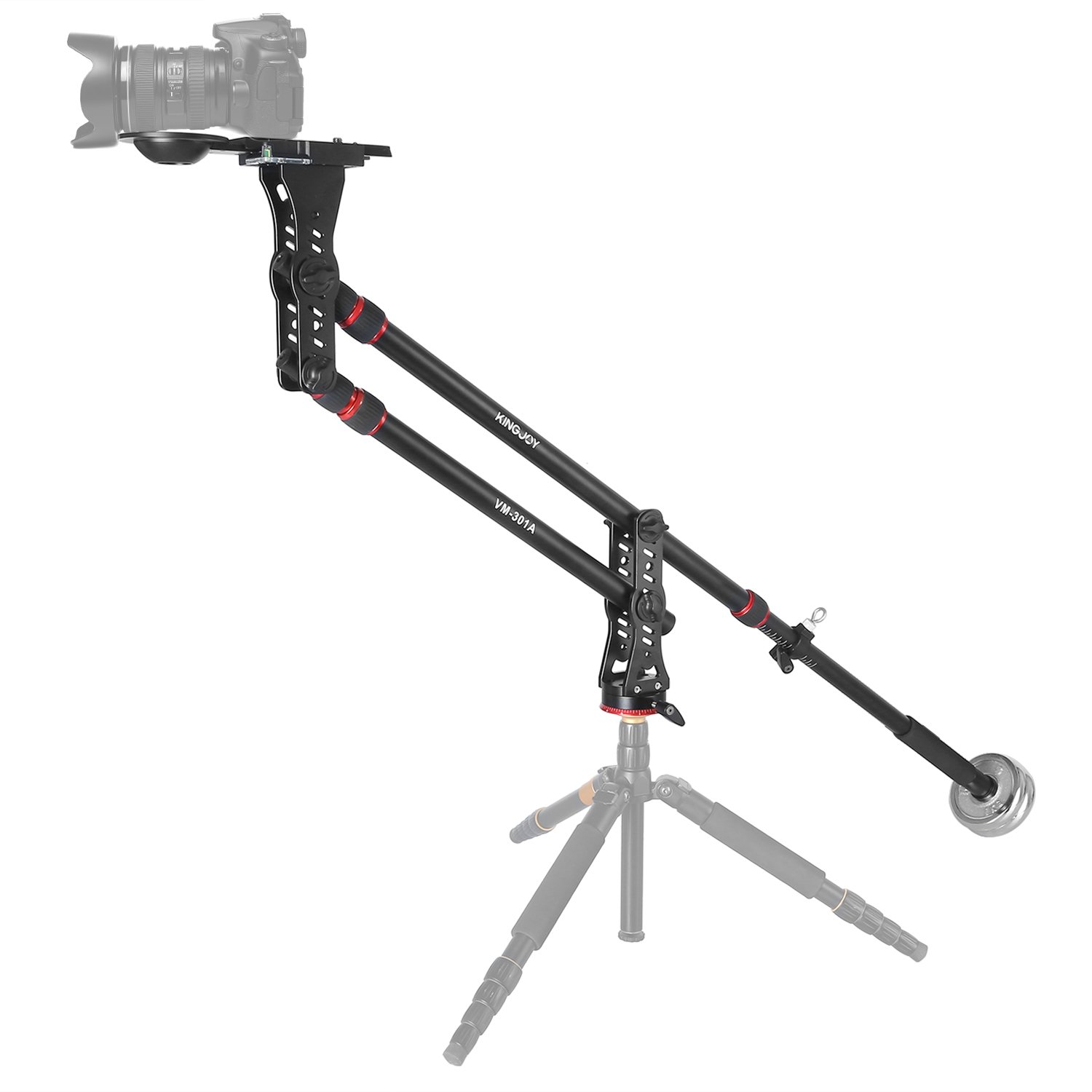 Papaler VM-301A 82.7''/210cm Aluminum Camera Mini Jib Crane with Counterweight,360 Degree Pan Ball Head,Bowl for 75~100mm Tripod Head and Quick Release Plate Adapter, Max.load to 8 kg/17.6 pounds by Papaler
