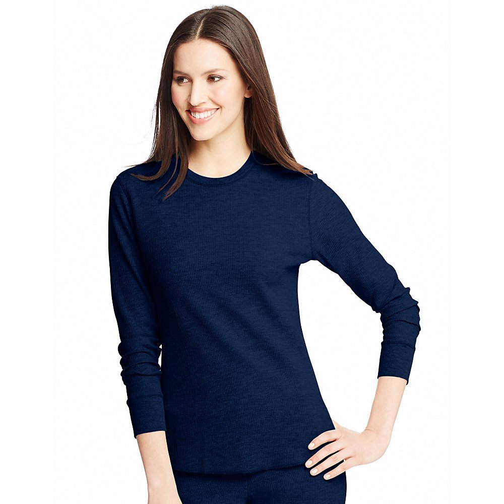 Hanes Women`s X-Temp Thermal Printed Crew Shirt 23500