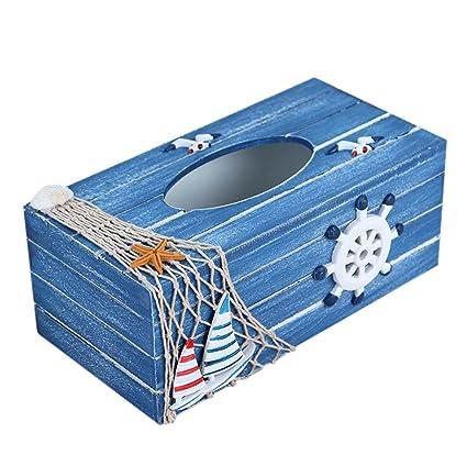 Doitsa 1 x Caja de Pañuelos de Madera Estilo Mediterráneo, Océano orgánico, Decoración de