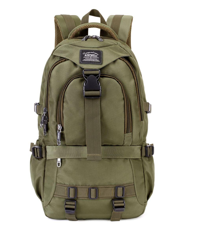 KAUKKO Multifunktionale Wandern Reise Rucksack Laptop Schulranzen Rucksä cke (up to 15.6 inches)-Army Grü n