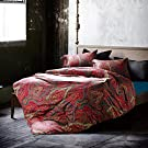 UFO Home 350 Thread Count 100% Cotton Sateen Mira Paisley Rich Flourishing Pattern 4pc Duvet Cover Set Brick-red Color Full/Queen Size (Pag, Full)