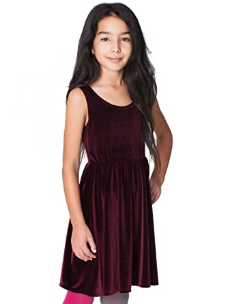 American Apparel Youth Stretch Velvet Skater Dress Wine 12 Years