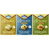 Blue Diamond Wheat & Gluten Free Artisan Nut Thins Crackers 3 Flavor Variety Bundle: (1) Blue Diamond Multi-Seeds, (1) Blue Diamond Flax Seed, and (1) Blue Diamond Sesame Seed, 4.25 Oz. Ea. (3 Total)