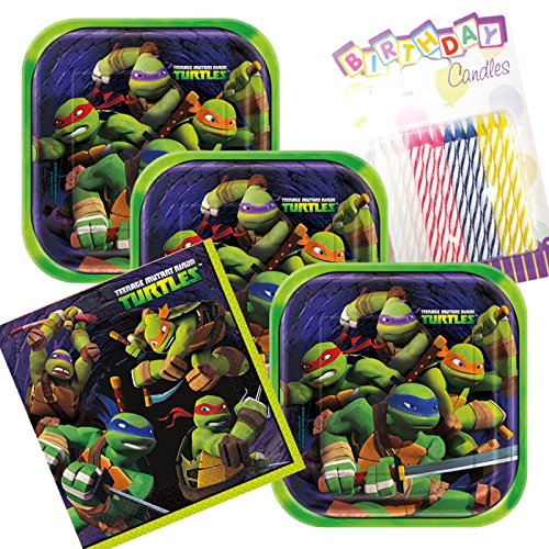 Teenage Mutant Ninja Turtles Theme Plates and Napkins Serves 16 With Birthday Candles