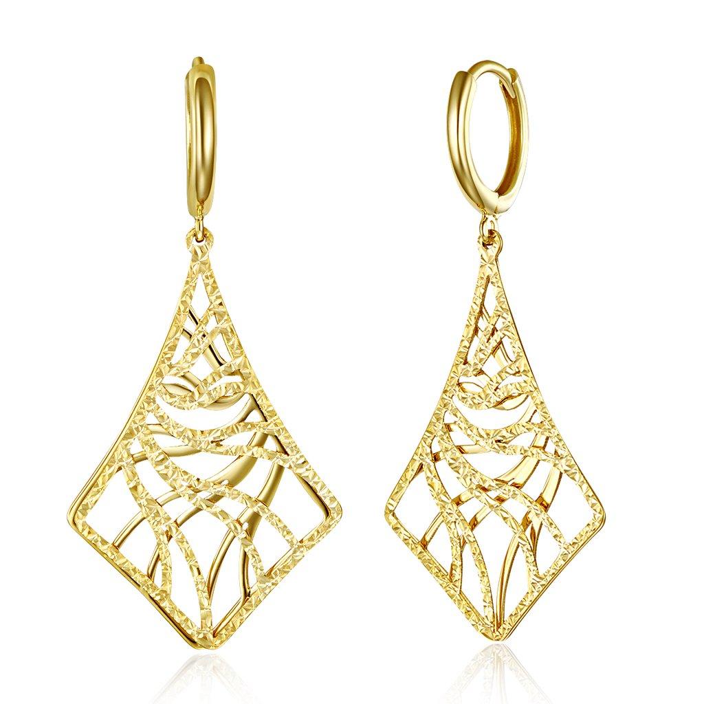 Wellingsale Ladies 14k Yellow Gold Polished Dangle Hanging Drop Hinged Earrings (40 x 20 mm)