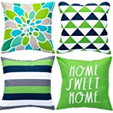 WLNUI Set of 4 Decorative Pillow Covers 18x18 Inch Green Geometric Modern Throw Pillow Covers Home Sweet Home Decorative…