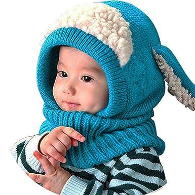 Lukis Bonnet Tour du Cou Enfant Cagoule Bébé Garçon Fille Cache Oreilles  Chapeau Tricoté Hiver 0 eb460b4a4a1