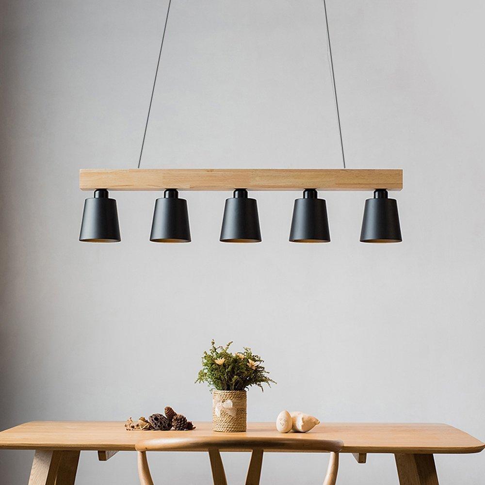 ZMH Lámpara Colgante Comedor Iluminación Interior Araña de Techo de Metal y Madera Altura Ajustable y