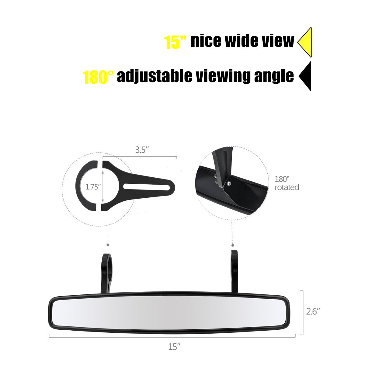 15'' Wide Angle UTV Rear View Race Mirror with Anti-Scratch Shatterproof Glass, Moveland Convex Mirror with 1.75-inch Clamp for Polaris RZR 800 1000 S 900 XP 1000 and More by moveland (Image #2)