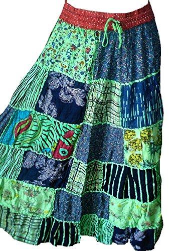 Falda Maxi hippie tribal de la falda del vientre del vientre Banjara NUEVO PATCHWORK P60