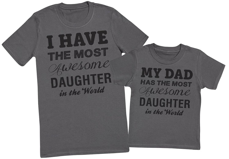 Awesome Daughter - Passende Vater Kind Geschenk-Set - Vater T-Shirt und Kinder  T-Shirt: Amazon.de: Bekleidung