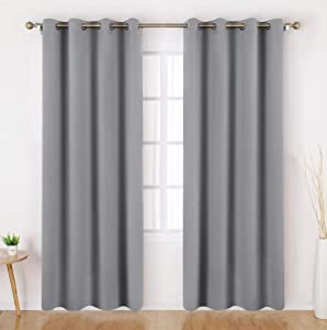 HOMEIDEAS Blackout Curtains 52 X 96 Inch Long Set of 2 Panels Light Grey/Gray Room Darkening Bedroom Curtains/Drapes, Thermal Grommet Light Bolcking Window Curtains for Living Room