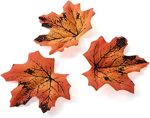 50pcs Fall Silk Leaves Wedding Party Favor Autumn Maple Leaf Decoration 6 Colors