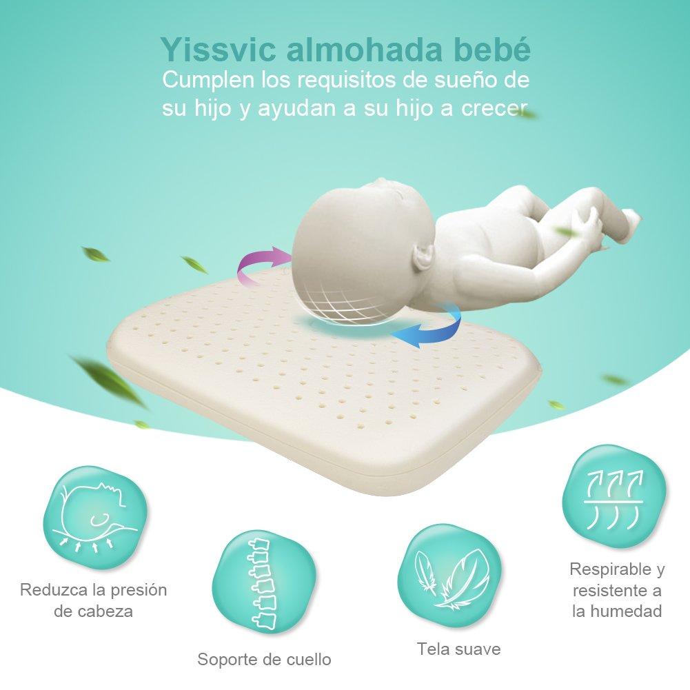 YISSVIC Almohada Bebé Anti Cabeza Plana Almohada Cabeza Niños para Dormir Cojin Anti Plagiocefalia con Forma Ergonomica de Memoria: Amazon.es: Bebé