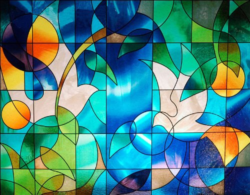 Dove Stained Glass Window Film - 36