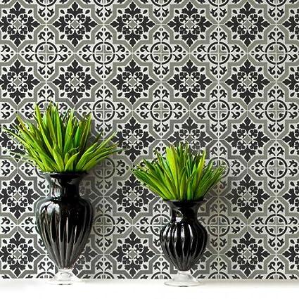 Lyndhurst Tile Stencil - Faux Cement Tile Stencils - DIY Floor Tiles - Reusable Stencils for Home Decor (Small) Cutting Edge Stencils