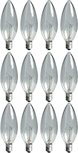 GE Lighting 73249 Crystal Clear 25-Watt, 220-Lumen Blunt Tip Touch Light Bulb with Candelabra Base, 12-Pack,Soft White
