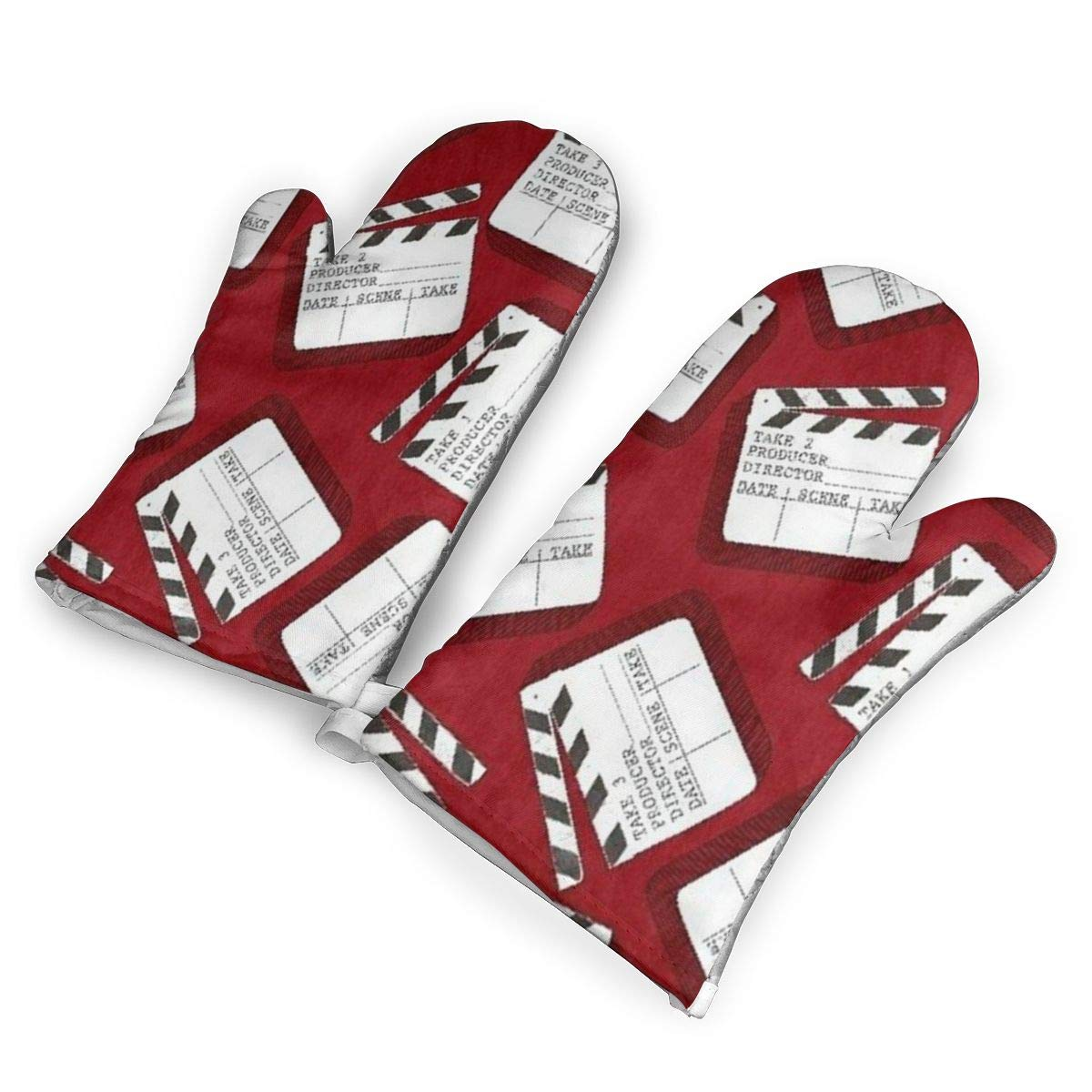 QOQD Lights Camera Action Clap Board Oven Mitts with Polyester Fabric Printed Pattern,1 Pair of Heat Resistant Oven Gloves for Cooking,Grilling,Barbecue Potholders