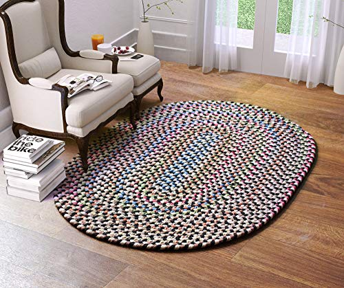 Super Area Rugs Roxbury Indoor Outdoor Braided Rug Charcoal/Natural Multi Colored RB89, 10' X 13' Oval