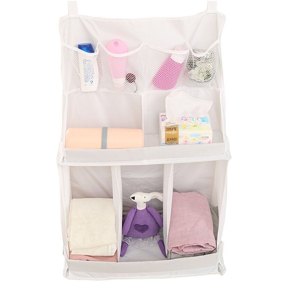 BOZEVON Bedside Organiser Net Baby Nursery Bag Hanging Storage Bag Cup Holders for Clothing Books Phones Diapers Toys Baby Cot Bed Diaper Hanging