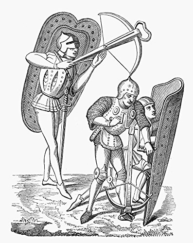 Crossbows 15Th Century Ncrossbowmen (Left) Preparing To Release Quarrel And (Right) Operating A Winch Line Engraving After A Miniature From The Chroniques De Froissart 15Th Century Poster Print by (1