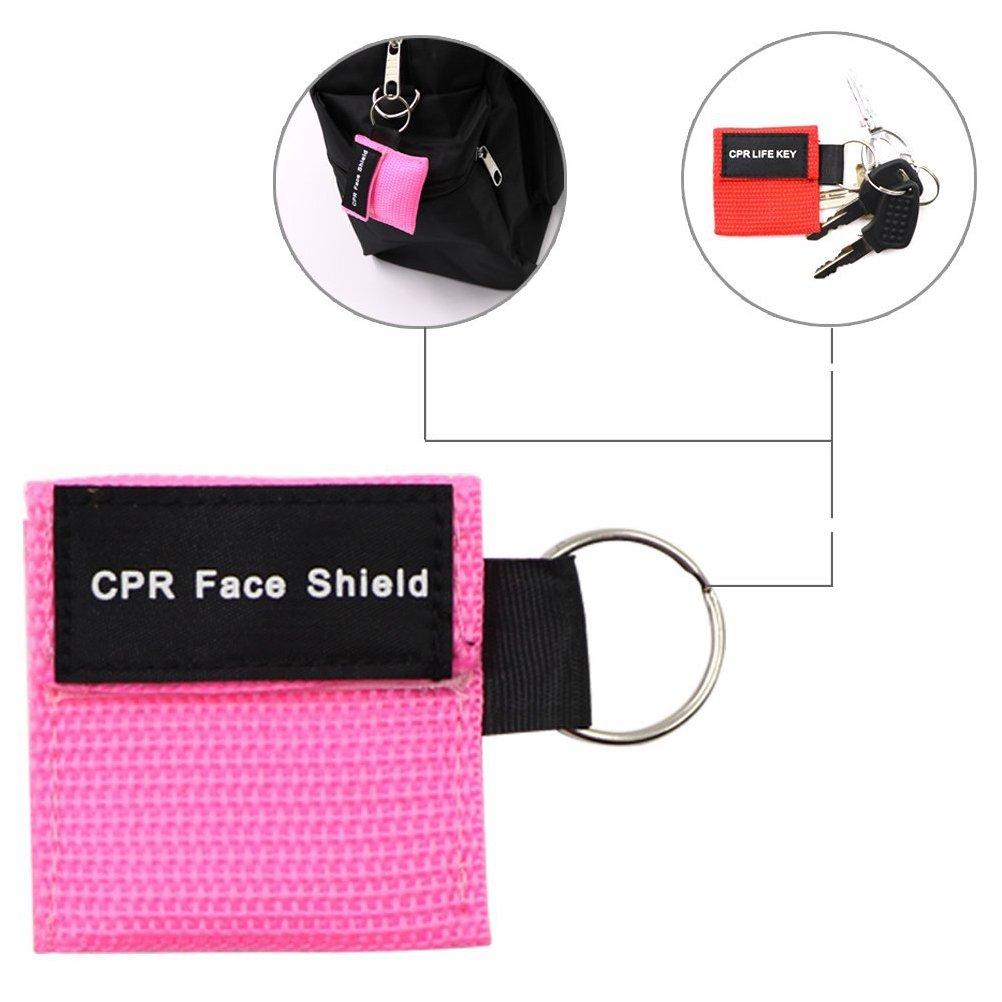 LSIKA-Z Paquete de 20pcs CPR M/áscara Llavero Anillo de Emergencia Kit Rescate Face Shields