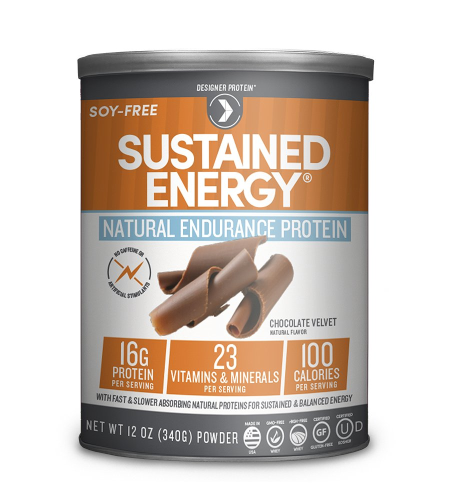 Designer Protein Sustained Energy Natural Endurance Protein, Chocolate Velvet, 12 Ounce