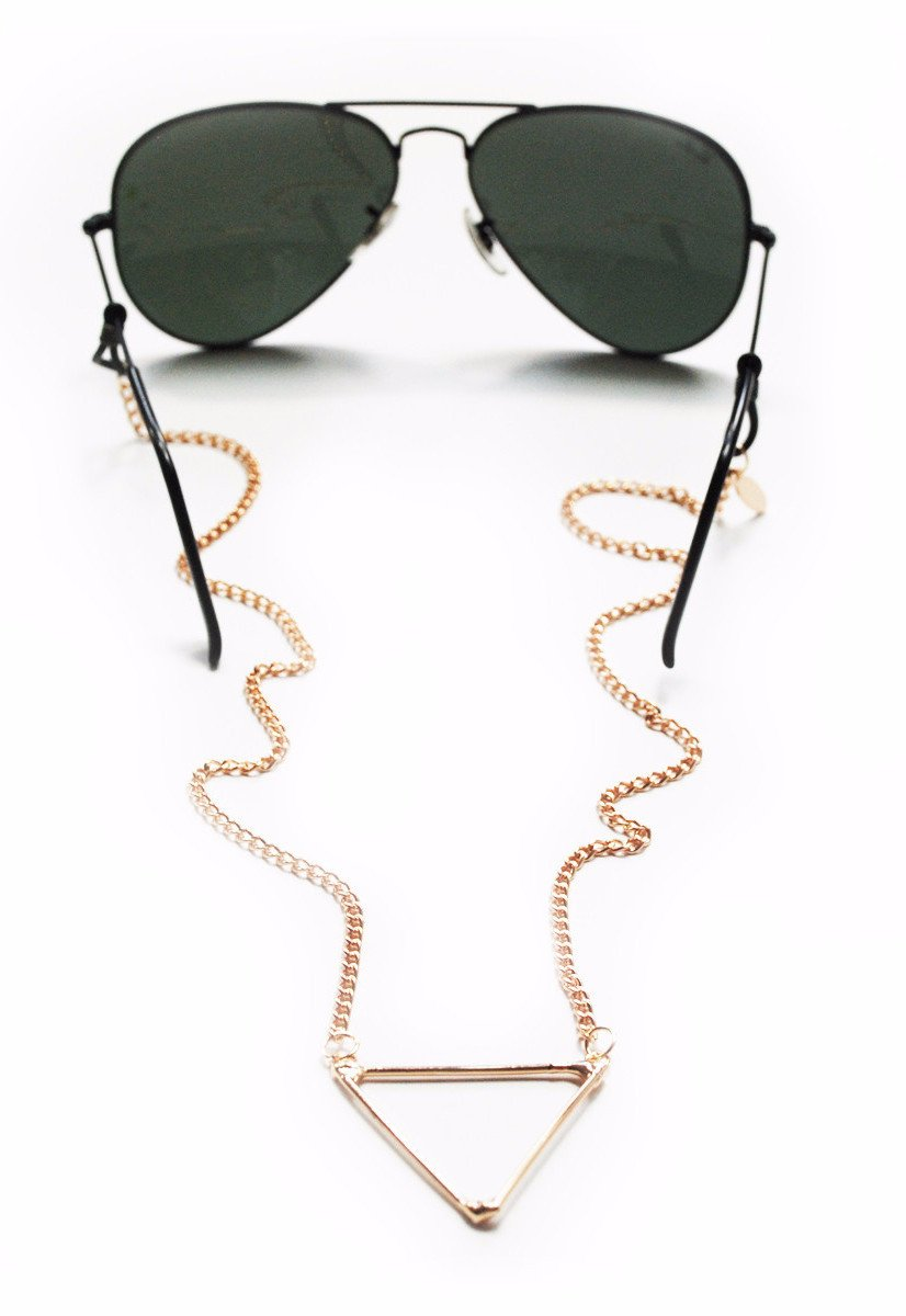 Sintillia Tri-Peace Backlace Sunglass Strap, Glasses Chain, Eyeglass Cord, Gold with Clear Attachments