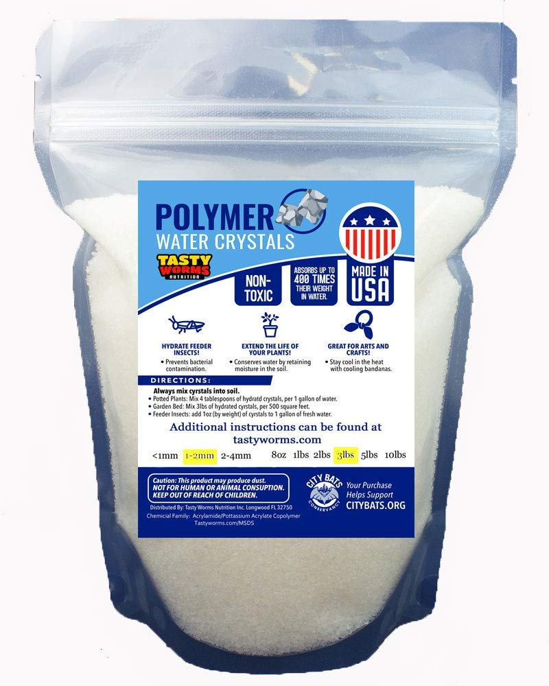 3LBS Medium Water absorbing crystal,polymer, soil moist, Insect Water by Tasty Worms Nutrition Inc.
