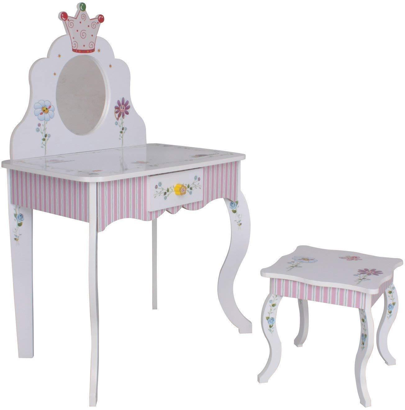 Habeig Schminktisch  988 Kinder Frisiertisch Tisch Prinzessin rosa Weiss Sitzgruppe Hocker