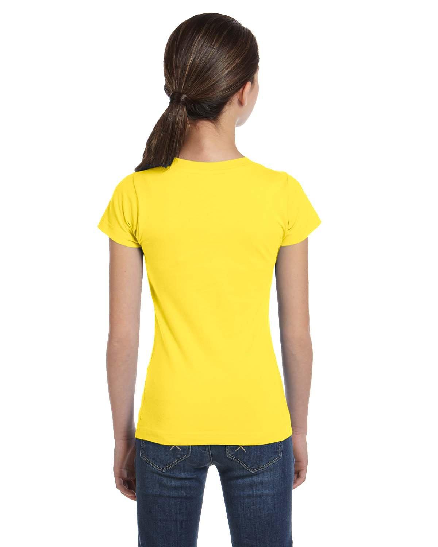 LAT Girls' Fine Jersey T-Shirt, Large, YELLOW