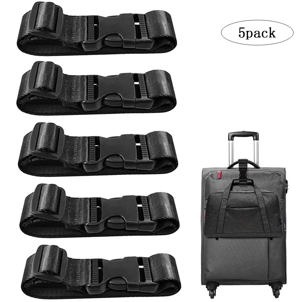 5 Pack Add a Bag Luggage Strap, CKANDAY Travel Suitcase Adjustable Belt Attachment Accessories for Connect Your 3 Luggage Together - Black Luggage-08Strap