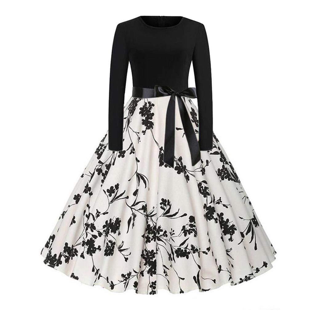 XXYsm Kleid 50er Jahre Rockabilly Damen Vintage Elegant Bodycon Casual Abend Prom Swing Kleid Langarm Blumendruck Party Kleider