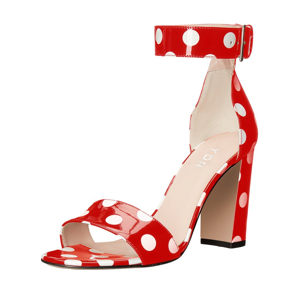 YDN Women Chunky High Heel Sandals Polka Dot with Ankle Strap Dressing Prom Shoes