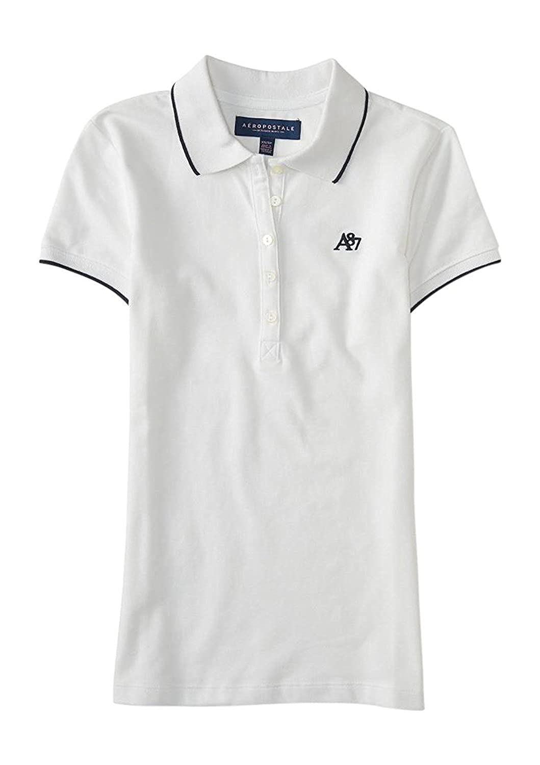 Aeropostale Women's Line Tipped Polo Shirt With A87 Logo Style 9776