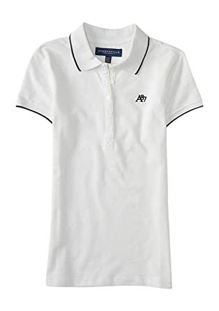 Aeropostale Womenu0027s Line Tipped Polo Shirt With A87 Logo Style 9776  (X Small,