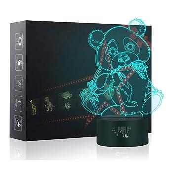 Luz de la Noche del 3D, LED Lámpara de Mesa de Cabecera 7 colores ...