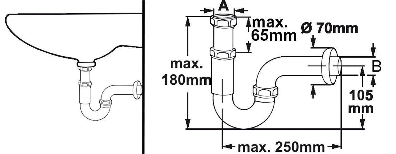 75 mm Cornat T317505 Sifone antiodori per lavabo cromato 1 1//4