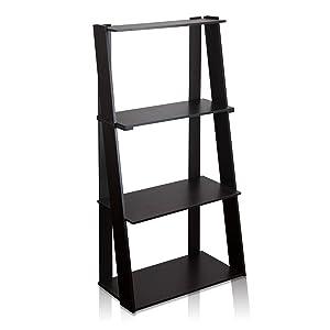 FURINNO Hidup Tropika Tall Ladder Shelf, Espresso