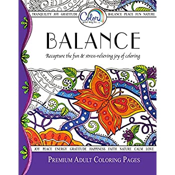 this item adult coloring book color your way to balance premium adult coloring pages for watercolor markers colored pencils made in the usa