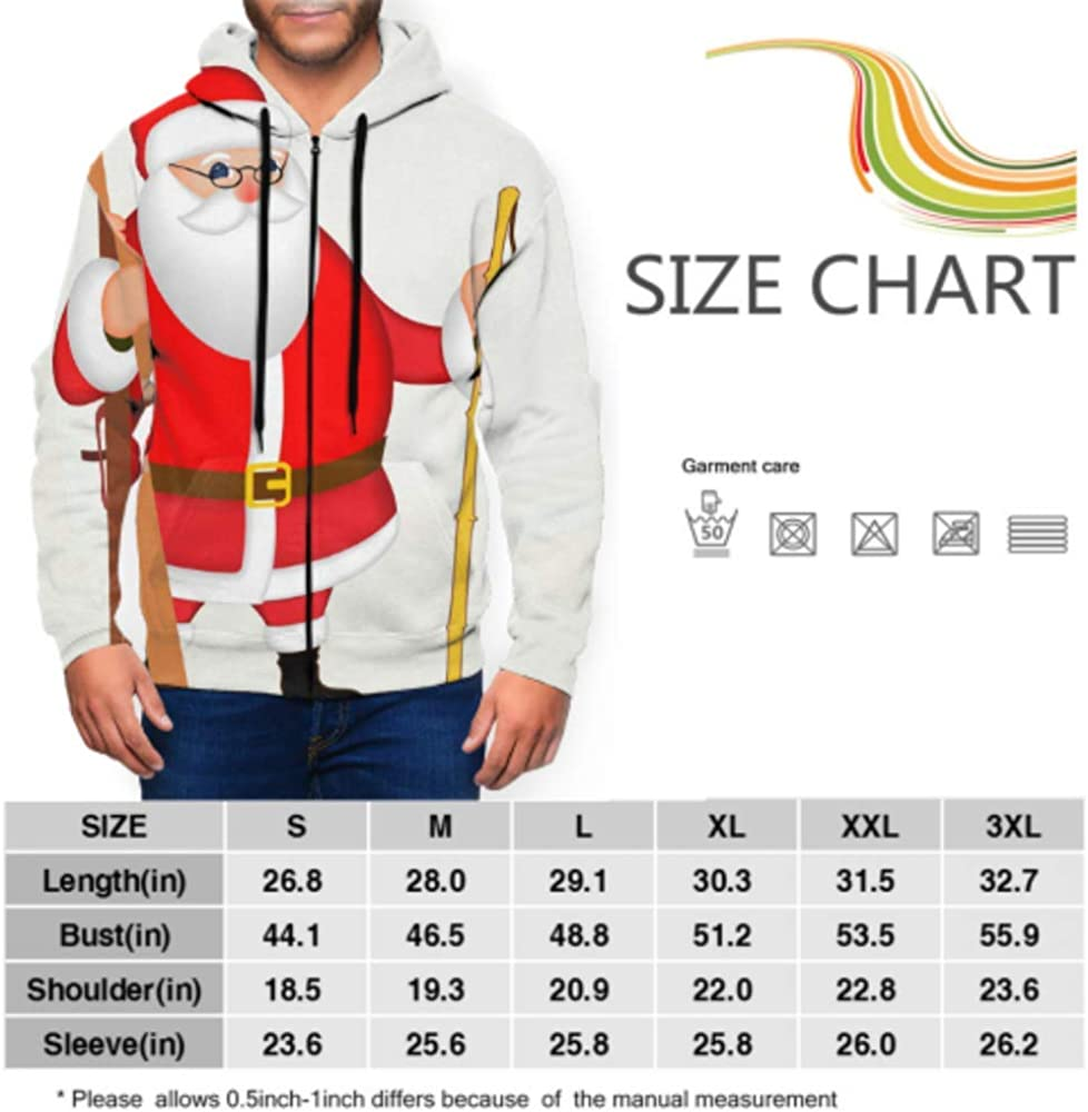 GUJGK Long Sleeve Hoodie Print Funny Santa Claus with Skis Poster Jacket Zipper Coat Fashion Mens Sweatshirt Full-Zip S-3xl