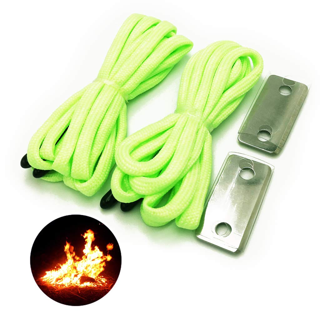 9aa9d5090206d Haxtec Glow in The Dark Tactical Shoelaces Fire Starter 550 Paracord Boot  Lace Milspec Shoelace for Work Boots, Shoes, Hiking, Working, Zombie  Survival ...