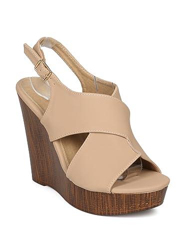 32f1072e471 Alrisco Women Nubuck Peep Toe Slingback Faux Wooden Platform Wedge Sandal  HG92 - Nude Nubuck (