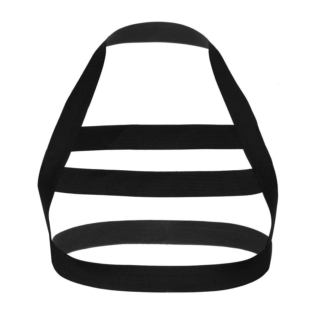 iEFiEL Men Nylon Halter Neck Elastic Body Chest Harness Costume Belt Black One Size
