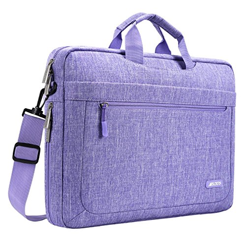 MOSISO Polyester Laptop Shoulder Messenger Bag Compatible 15 Inch MacBook Pro Touch Bar A1990 A1707 2018 2017 2016, 14 Inch ThinkPad Chromebook, Notebook Tablet with Adjustable Depth at Bottom, Purple