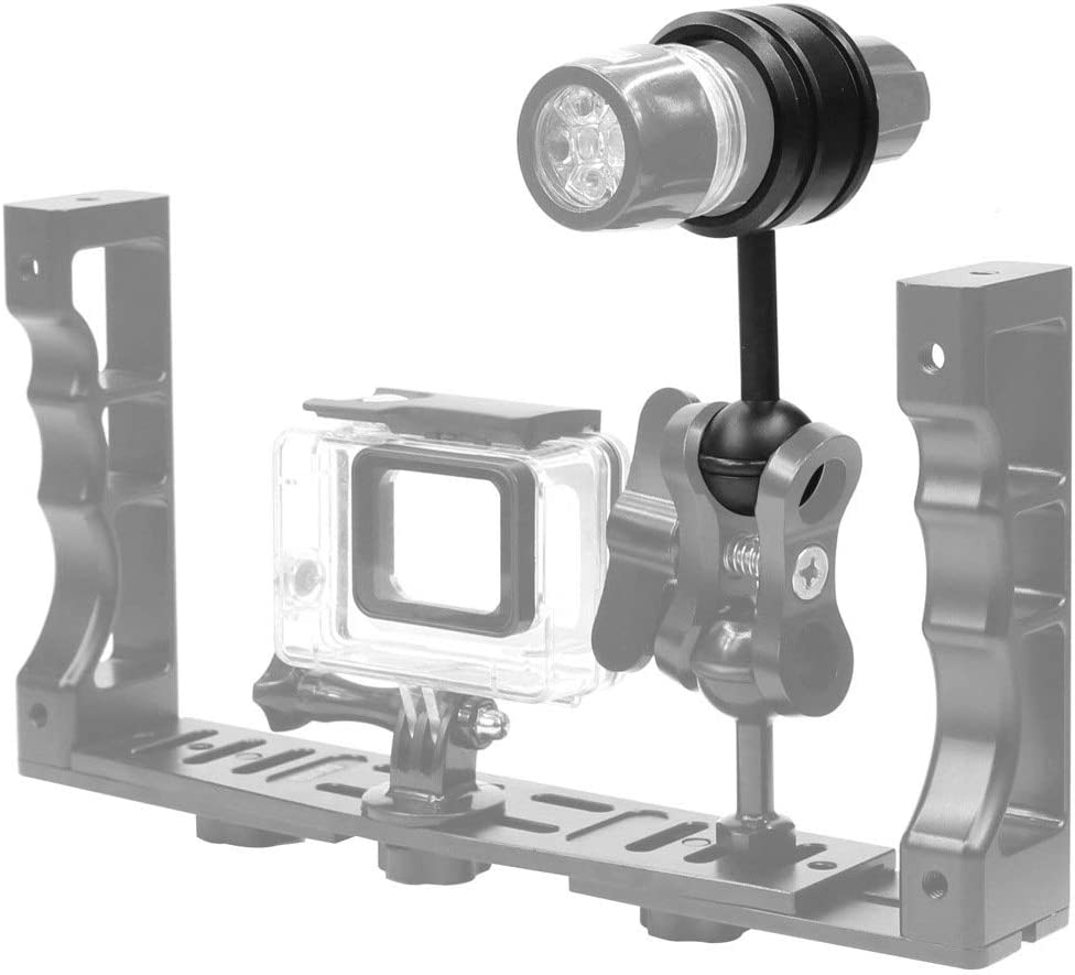 XIAOMIN Light Diving Aluminum Alloy Clamp Ball Head Mount Adapter Fixed Clip for Underwater Strobe Housing Light Premium Material