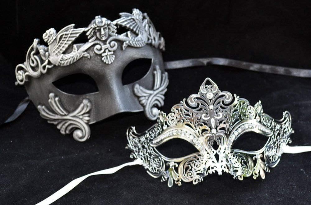 Roman Luxury Couple Mask Mardi Gras Venetian His & Her Mask Ball Masquerade Mask