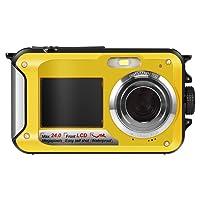 Hoyxel Waterproof Digital Camera, EG04 Dual Screen Mini FHD Video Camera FHD Support Underwater/Sports Recording Self Shoting(Blue)